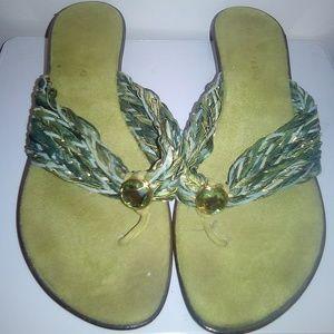 Green Mini Heel Slip on Sandals
